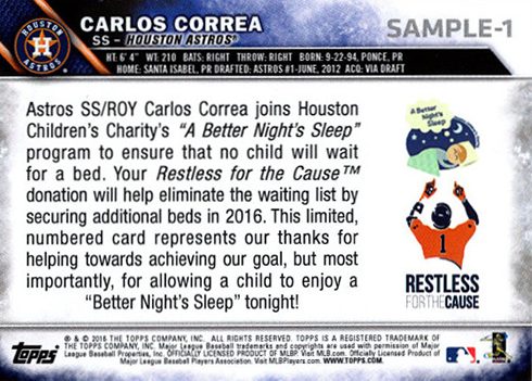 2016 Topps Restless for a Cause Carlos Correa Reverse