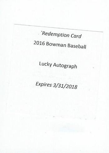 2016 Bowman Lucky Redemption Card