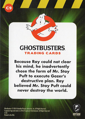 2016 Cryptozoic Ghostbusters Character Profiles C9 Stay Puft Reverse