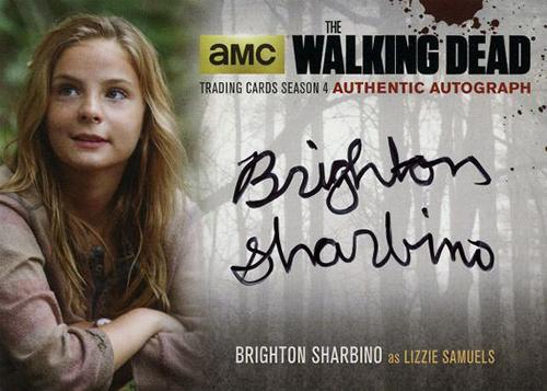 2016 Cryptozoic Walking Dead Season 4 Part 1 Autographs Brighton Sharbino