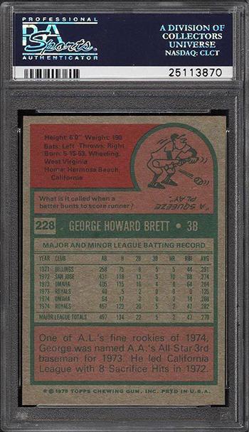 1975 Topps George Brett RC PSA 10 Reverse