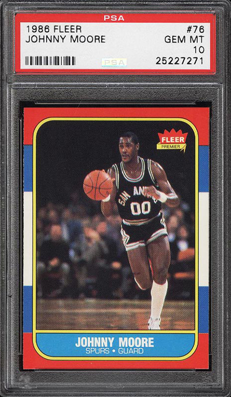 1986-87 Fleer Johnny Moore PSA 10 Front