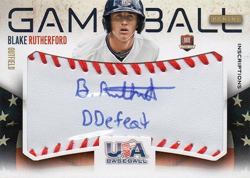 2014 Panini USA Baseball Ball Autograph Blake Rutherford