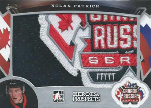 2015-16 ITG Leaf Heroes and Prospects Canada Russia Series Patch Nolan Patrick