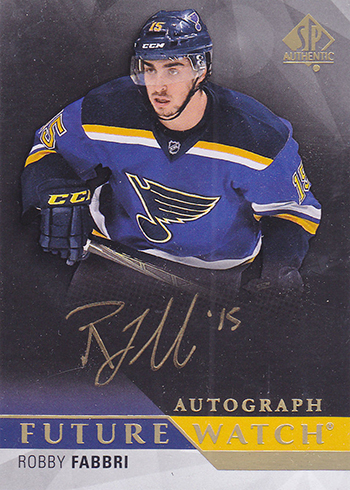 2015-16 SP Authentic Black Gold Ink Future Watch Autograph 250 Robby Fabbri