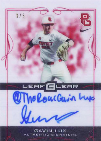 2015 Leaf Ultimate Draft Clear Autographs Red Gavin Lux