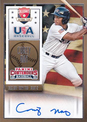 2015 Panini Contenders USA Baseball Ticket Autograph Corey Ray