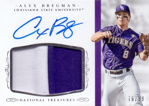 2015 Panini National Treasures Collegiate Alex Bregman Patch Autograph