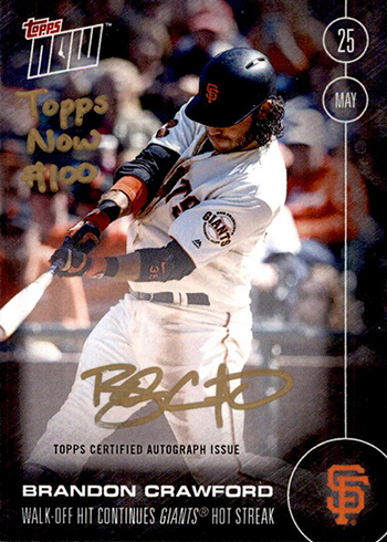 2016 Topps Now Brandon Crawford Autograph Front