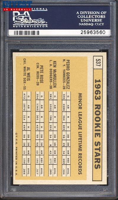 1963 Topps Pete Rose RC PSA 9 reverse