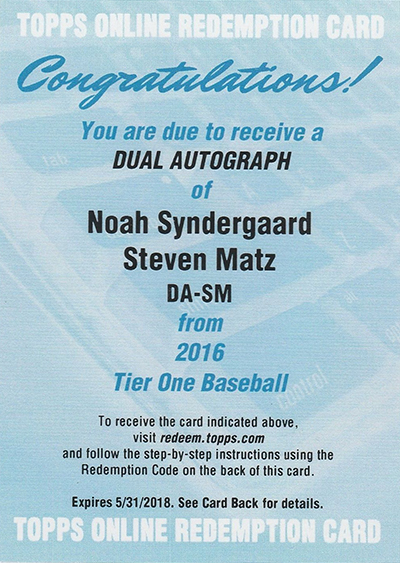 2016 Topps Tier One Noah Syndergaard Steven Matz Dual Autograph Redemption