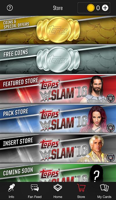 2016 Topps WWE Slam Store Menu