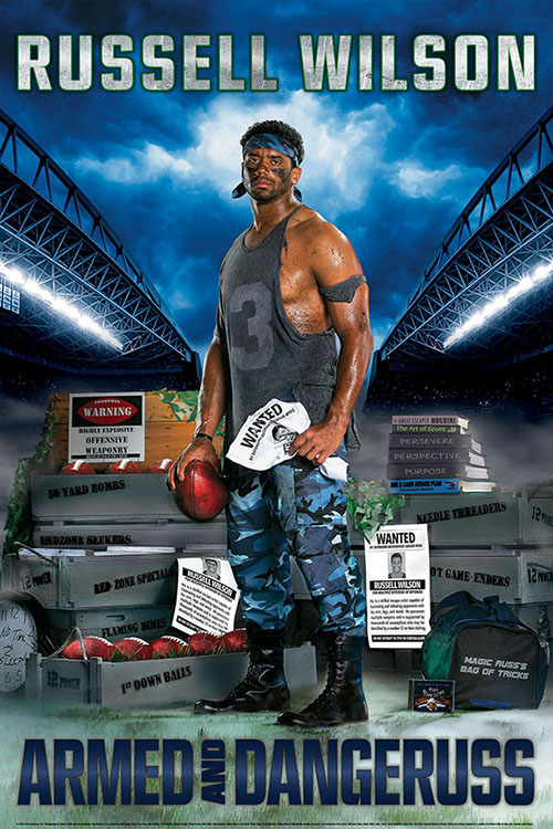 Russell Wilson Costacos Brothers Poster Armed and Dangeruss
