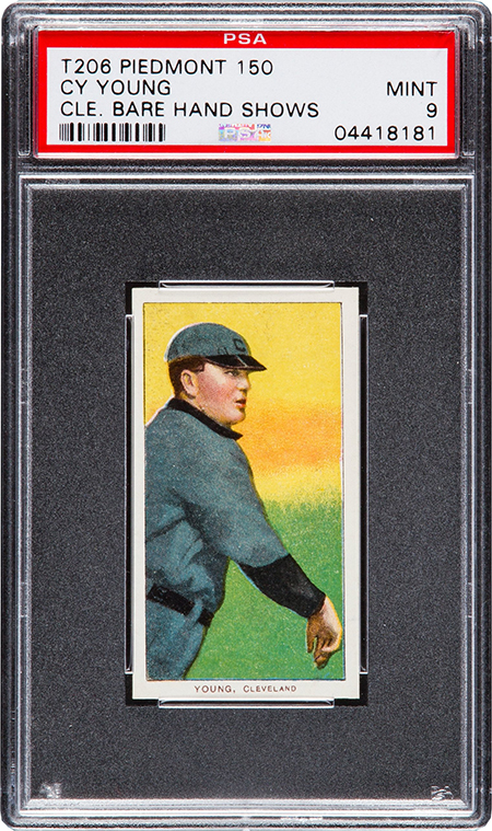 1909 T206 Piedmont Cy Young Bare Hand Showing PSA 9 450