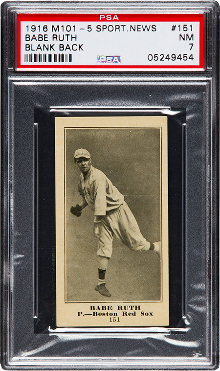 1916 M101-5 Sporting News Babe Ruth PSA 7 450
