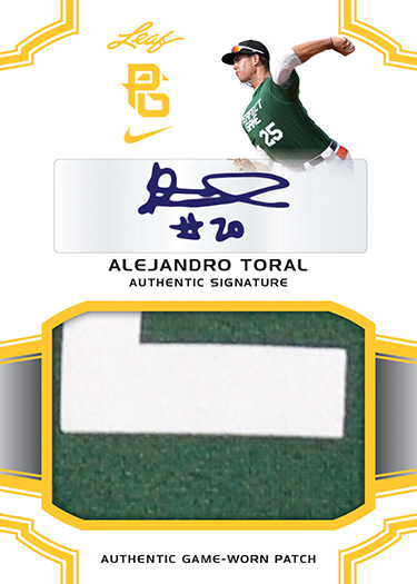 2016 Leaf Perfect Game Baseball Patch Autograph Alejandro Toral