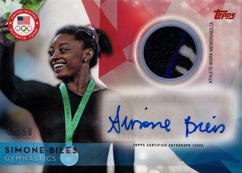 2016 Topps US Olympic Team Autographed Relic Simone Biles