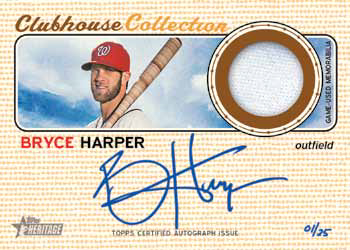 2017 Topps Heritage Baseball Clubhouse Collection Autograph Relic