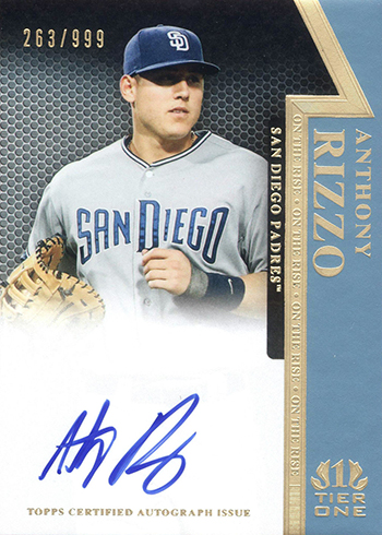 2011 Topps Tier One On the Rise Autographs Anthony Rizzo