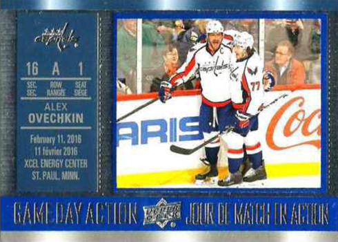 2016-17 Upper Deck Tim Hortons Hockey Game Day Action Alex Ovechkin