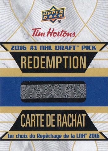 2016-17 Upper Deck Tim Hortons Hockey Draft Redmeption