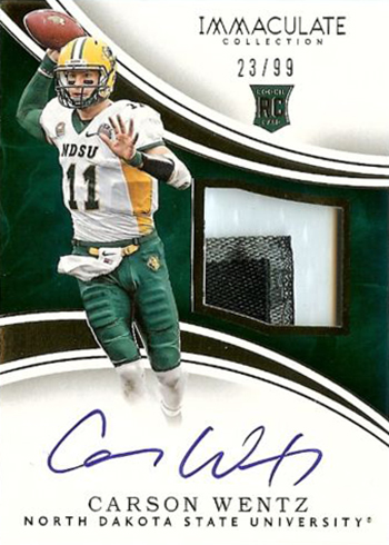 2016 Immaculate Collection Collegiate Carson Wentz RC