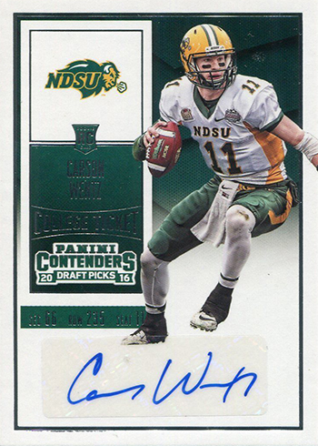 2016 Panini Contenders Draft Carson Wentz RC Autograph