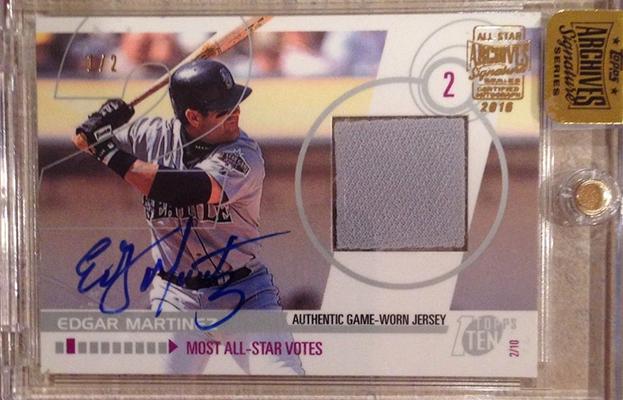 2016 Topps Archives Signature Series Baseball Edgar Martinez Topps Ten Relic