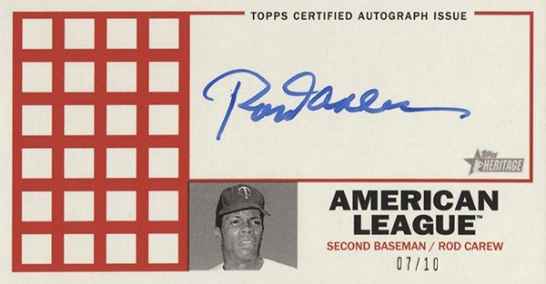 2016 Topps Heritage High Number Punch Board Autograph Rod Carew