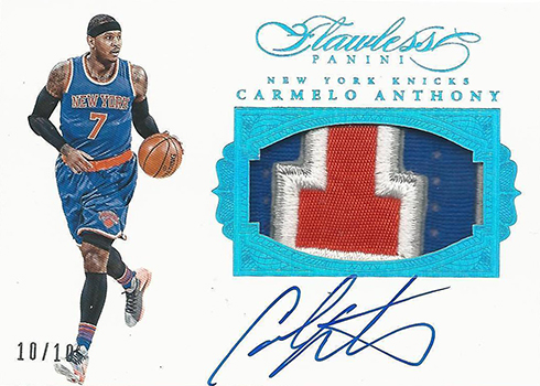 2015-16 Panini Flawless Basketball Patch Autographs Carmelo Anthony 10