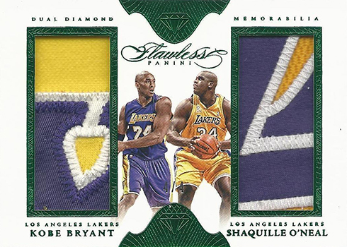 2015-16 Panini Flawless Dual Patch Koobe Bryant Shaquille ONeal Emerald