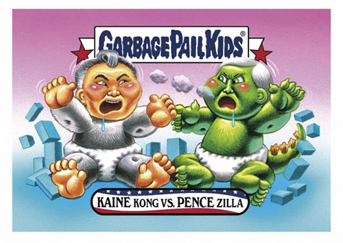 2016 Topps Garbage Pail Kids Dis-grace to the White House 12 Kaine Kong vs Pence Zilla