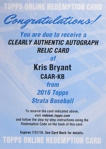 2016 Topps Strata Clearly Authentic Autograph Kris Bryant Redemption