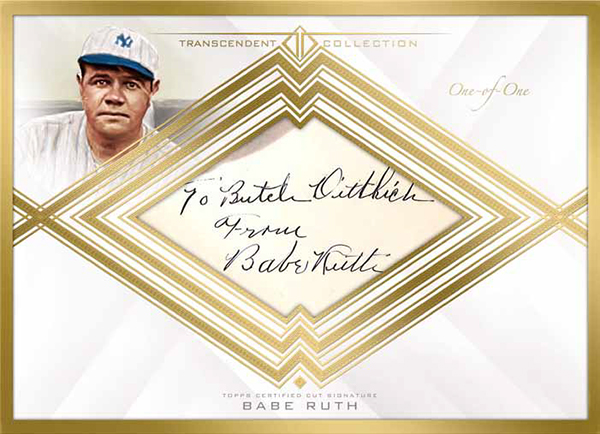 2016 Topps Transcendent Baseball Box Topper Cut Signature Babe Ruth