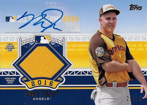 2016 Topps Update Series Baseball All-Star Stitches Autographs Mike Trout