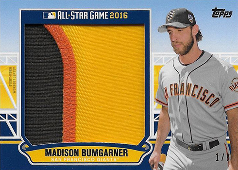 2016 Topps Update Series Baseball All-Star Stitches Jumbo Patch Madison Bumgarner