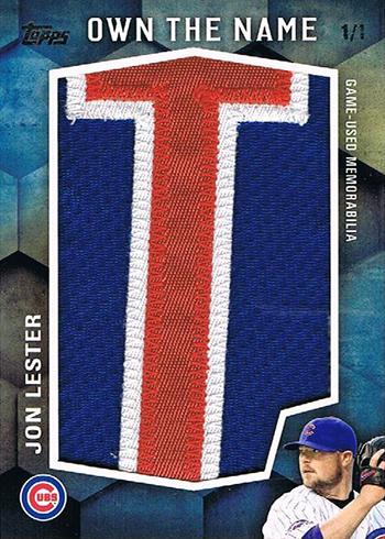 2016 Topps Update Series Baseball Own the Name Patch Jon Lester
