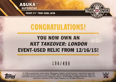 2016 Topps WWE 2K17 NXT Takeover London Mat Asuka Reverse