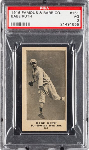 1916 Famous and Barr Co Babe Ruth PSA 3 Heritage Nov-2016