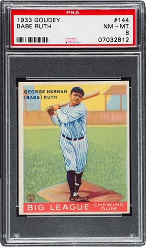 1933 Goudey Babe Ruth 144 PSA 8