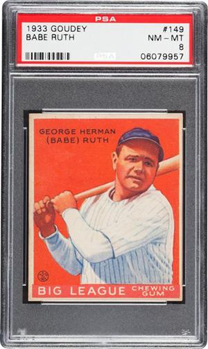 1933 Goudey Babe Ruth 149 PSA 8 Heritage Nov-2016