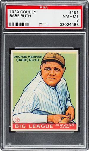 1933 Goudey Babe Ruth 181 PSA 8