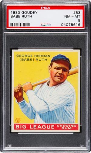 1933 Goudey Babe Ruth 53 PSA 8 Heritage Nov-2016