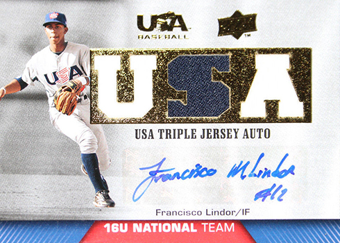 2009 Upper Deck USA Francisco Lindor Triple Jersey Autograph
