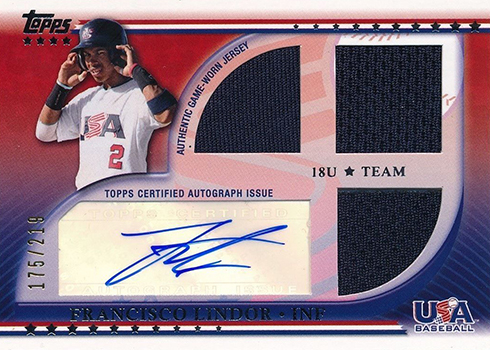2010 Topps USA Triple Jersey Autograph Francisco Lindor