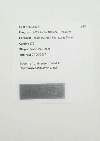 2015 Panini National Treasures Francisco Lindor RC Redemption