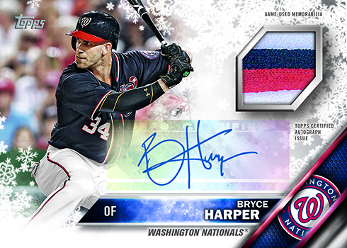 2016 Topps Holiday Baseball Autograph Relic Bryce Harper