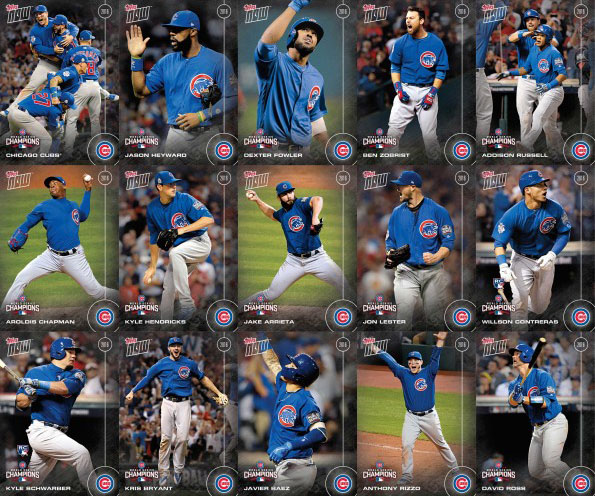 2016 Topps Now Chicago Cubs World Series Championship Team Set Images