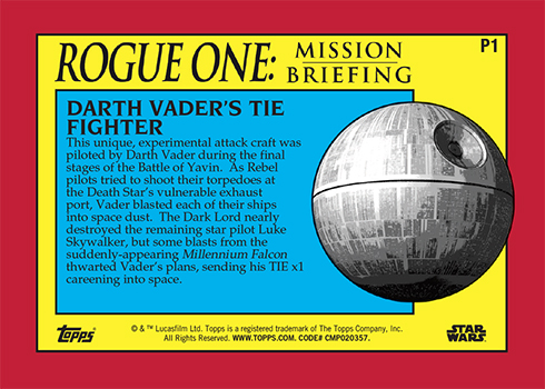2016 Topps Star Wars Rogue One Mission Briefing P1 Reverse