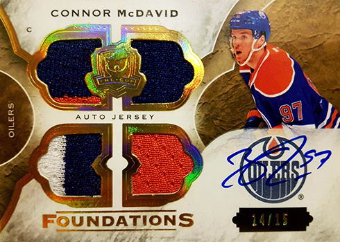2015-16 Cup Connor McDavid Foundations Quad Jersey Autograph 15